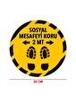 Artikel Sosyal Mesafe Uyarı Etiket Sticker-33 Yuvarlak 30 Cm Renkli